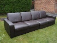large brown 4 seat modern italian leather sofa top quality/condition or pair two seater