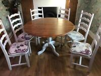 Large Solid Wood Dining Table & 6 Chairs
