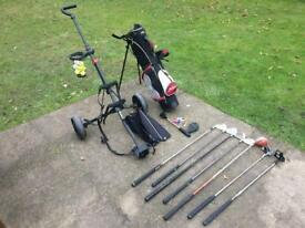 Junior golf clubs bag & trolley right handed