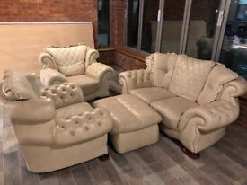 leather sofa and armchairs set