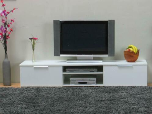 Design Hoogglans Tv Meubel.Tv Meubel Bergamo Wit Hoogglans Tv Kast Design Met 2 Lades