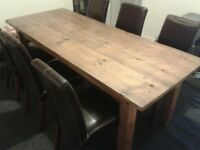 Solid Wood Dining Table 6 Leather Chairs