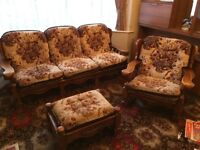 Solid oak framed Sofa, armchair and footstool. Excellent condition.