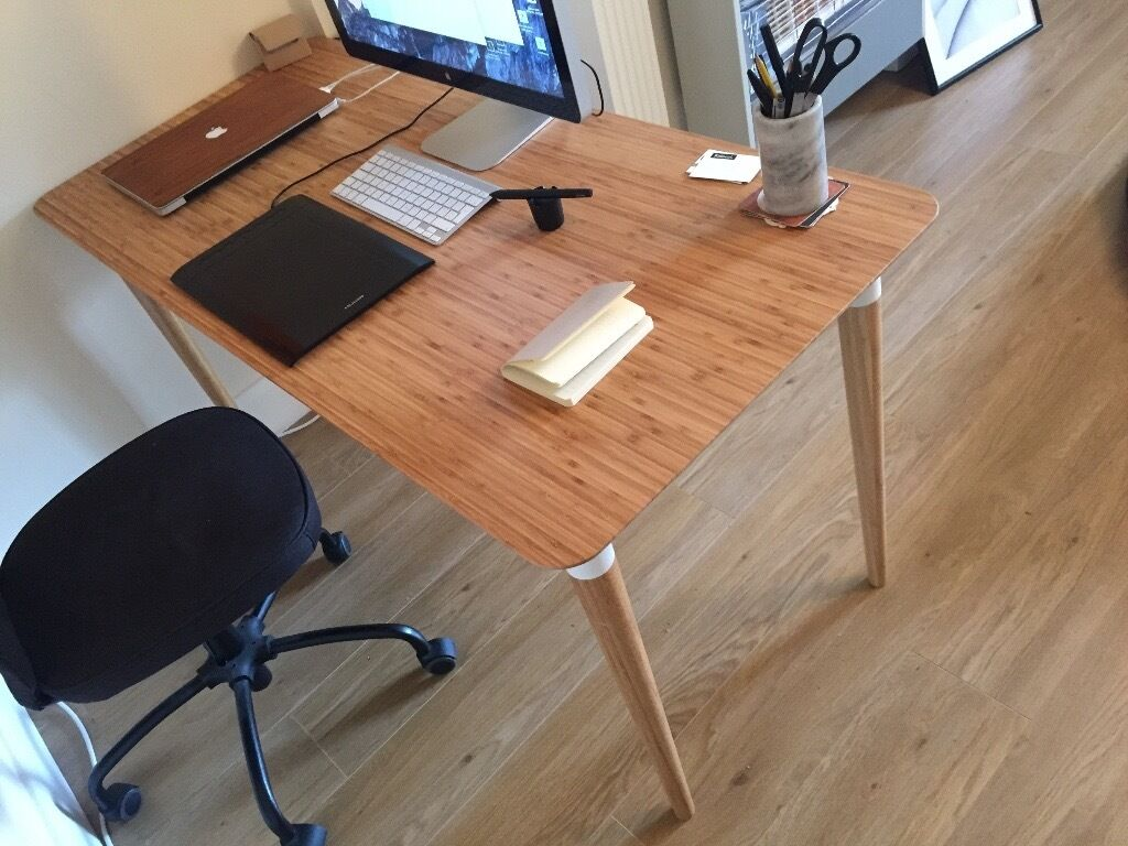 new beautiful office desk natural wood bamboo hilver ikea in finsbury park london gumtree. Black Bedroom Furniture Sets. Home Design Ideas