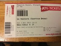 2 tickets. La Traviata. Theatre Royal Glasgow. Saturday 2 December 19:15. £123.