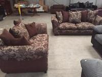 Brown floral 3+2 seater sofa suite