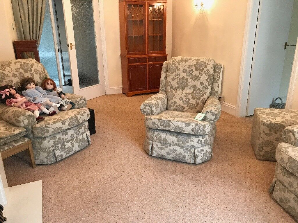 3 piece suite plus 2 foot stools one small 1 poof just been recovered and in pristine condition