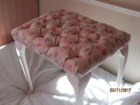 Shabby Chic bedroom stool, newly upholstered and deep buttoned