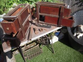 Singer Sewing Machine Parts & Four Cabinet Drawers