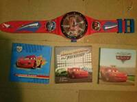 Lightning McQueen , wall clock, shade, 3 canvases, curtains