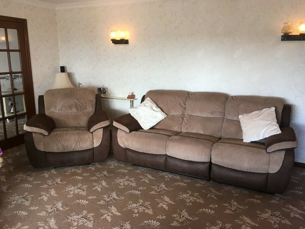 Brown 3 seat double recliner sofa and electric recliner chair