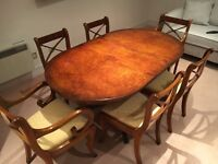 DINING TABLE - SIX CHAIRS - EXTENDABLE - DARK WOOD