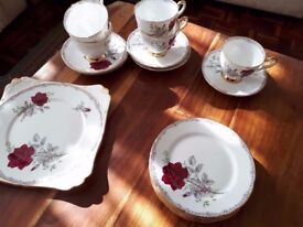ROYAL STAFFORD CHINA TEA SET. 'ROSES TO REMEMBER' 17 PIECES