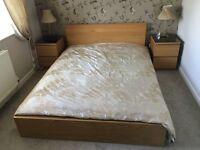 IKEA Oak Malm Double Bed and Mattress