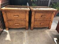 Pair of wicker cabinets