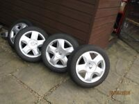 4 Alloy Wheels and tyres from Renault Twingo Good condition.