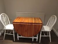 Pine drop leaf table and two chairs shabby chic