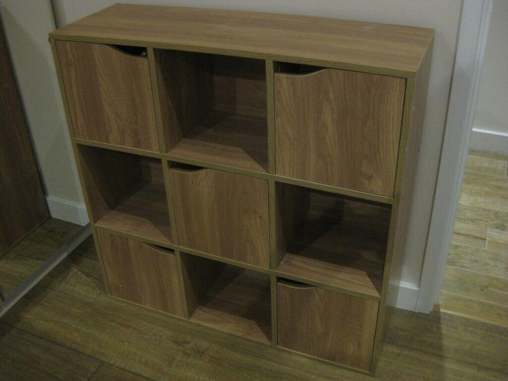 Cube storage unit light oak veneer 5 door 4 open cubes suitable for bedroom or living room for Oak shelving units living room