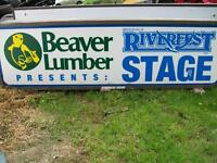 Riverfest and Beaver lumber stage sign