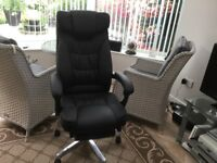 SONGMICS Office Chair with Foldable Headrest and Pull-out Footrest