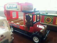 Sylvanian bus, canal boat, ice cream van and horse and cart