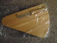 WOODEN CHEESE BOARD & KNIFE - BRAND NEW
