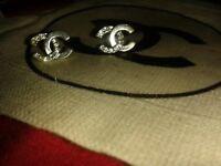 CC earrings silver diamante can post/ebay them