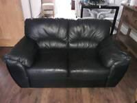 Black Leather 3 & 2 Seater Sofas