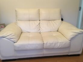 2seater ivory leather sofa in immaculate condition
