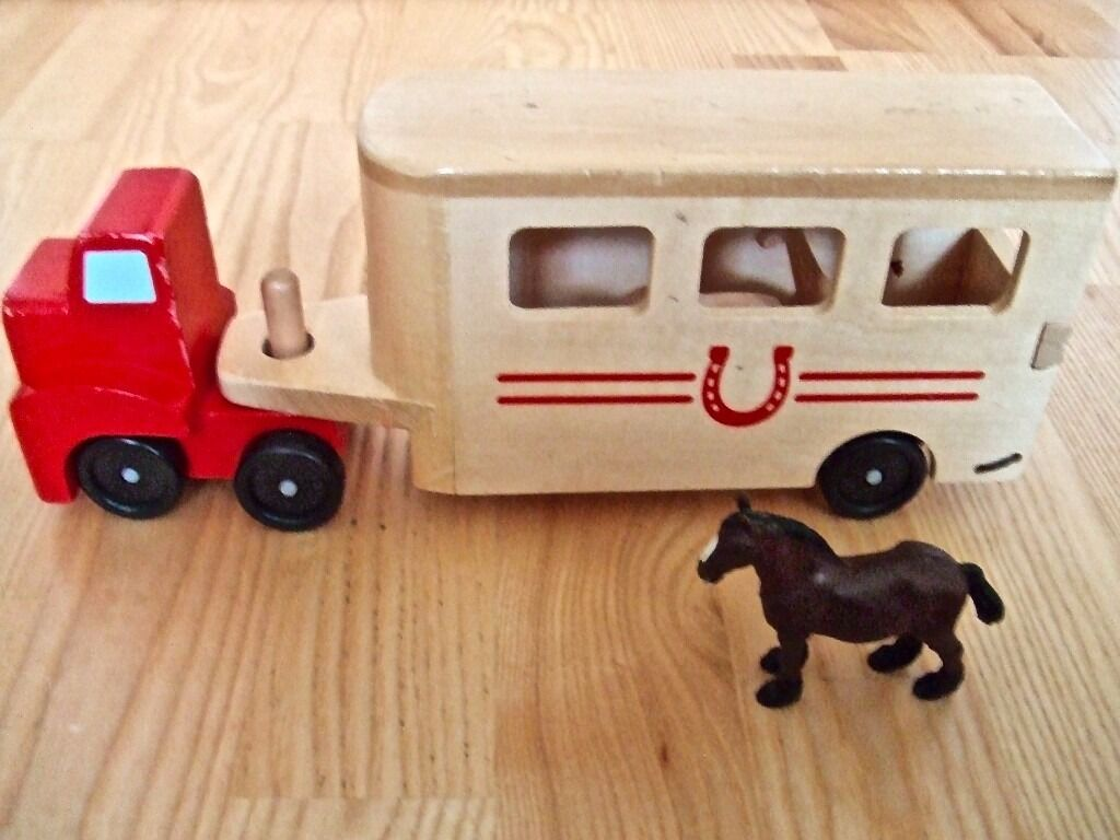 MelissaDoug Horse Carrier Box Wooden Vehicle Play Set With animalsPull Down Rampin Forres, MorayGumtree - Horse carrier set One horses with some wooden animals. Wooden big rig comes with a pull down ramp so that the animals can be loaded and unloaded with ease Great for fine motor, language and imaginative play skills Animal lovers will be ready to hit...