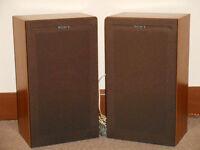 Sony speakers SS-51, input power 36W, wood veneer, fabric fronts 18 x 25x 43.5cm