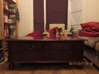 Chunky dark wood coffee table with drawers sad to see it go :(