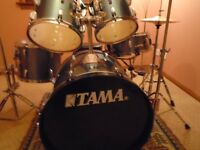 Tama 5 Piece Drum Kit , Stands , Cymbals , Throne , Muffle Pads , Bag Set , Music stand