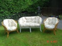 Chalk Painted Two Seater Cane / Bamboo Chair plus a Pair of Varnished Bamboo Chairs. Can Deliver.