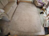 LARGE RUG SIZE 8' BY 5' , 100% WOOL, COLOUR WARM GREY