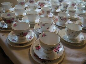 Lovely Vintage china hire. Chair covers & sashes , Tablecloths Sweet Jars etc All for hire.