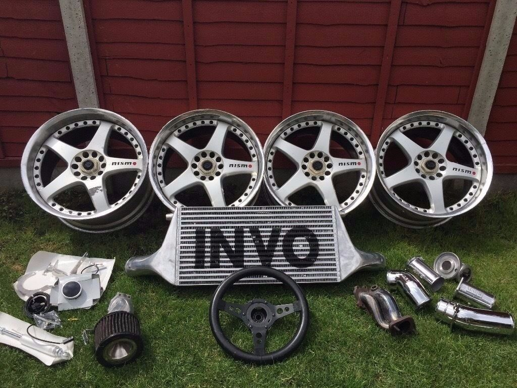 NISSAN GTR SKYLINE NISMO WHEELS 18s, INTERCOOLER, STEERING WHEEL AND PARTS