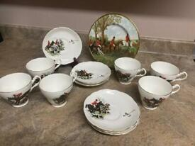 Antique hunting set of 6 tea and saucers with plate