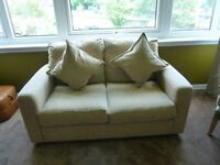 2 seater, beige fabric sofa - collection only