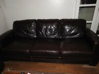 Dark Brown Leather Sofas 3 seater and 2 seater