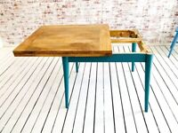 Folding Dining Table Painted Finish Mid-Century Extendable Rustic Modern