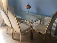 Glass gold dining table set rectangle cream 4 chairs swan