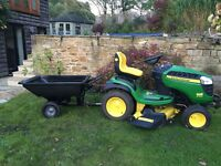 John Deere x165 Ride on Mower + trailer