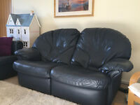 Dark Blue Leather Reclining 2 Seater Sofa