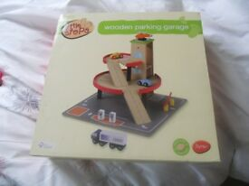 Wooden car garage from Tesco, new in box