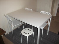 Ikea Table, 3 chairs and a stool
