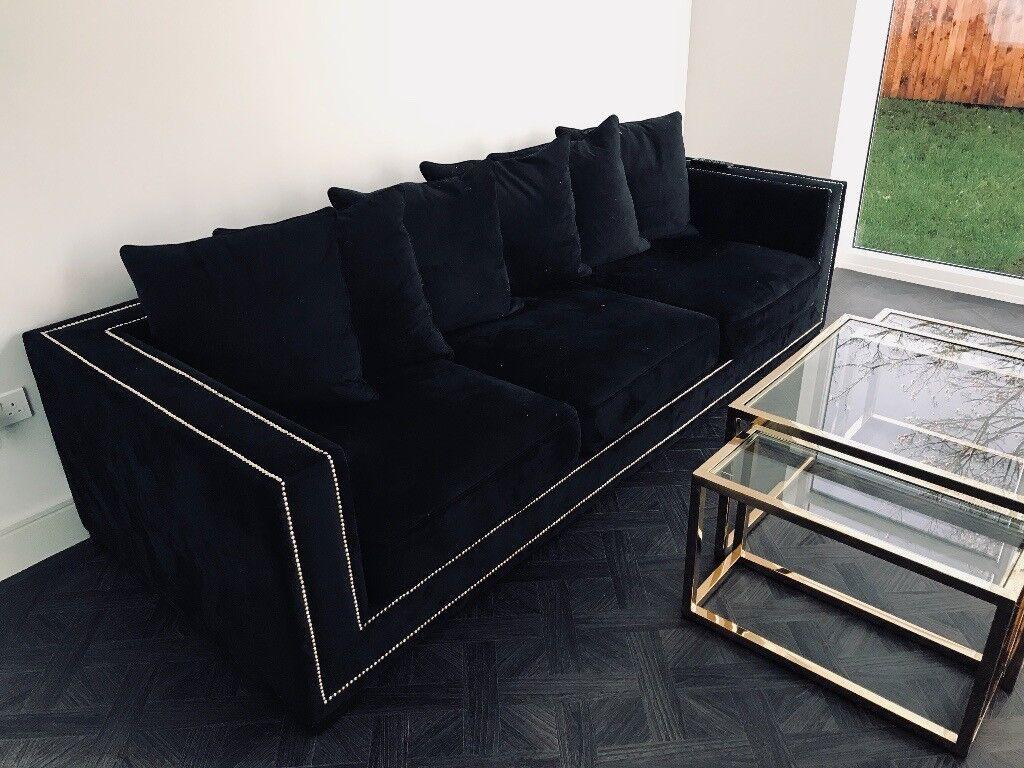 Black Velvet Studded Sofa And Matching Gold Table In Bothwell Glasgow Gumtree