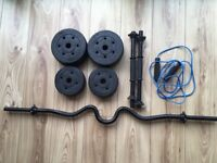Barely used 5kg tricurl bar, 15kg dumbbell set & skipping rope