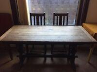 Vintage Antique 1930's Oak Kitchen Dining Room Table