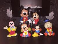 Set of Micky mouse collectibles and money boxes